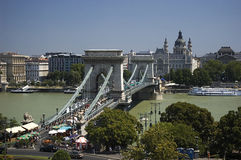 Budapest - Chain Bridge. Main buildings and sights of the beautiful Budapest city Royalty Free Stock Images