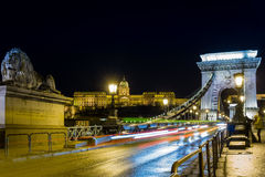 Budapest - Chain Bridge and car lightrail. Chain Bridge during a cold winter night in Budapest Royalty Free Stock Photo