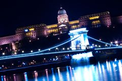 Budapest Chain Bridge and Castle. Budapest Chain Bridge by night royalty free stock image