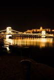 Budapest Chain Bridge and Castle. Budapest Chain Bridge by night royalty free stock photos