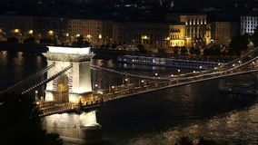 Budapest Chain Bridge. Budapest cityscape with Chain Bridge over Danube river night scene, Hungary stock footage