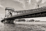Budapest Chain Bridge day monochrome view Royalty Free Stock Photo
