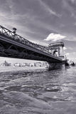 Budapest Chain Bridge day monochrome view Royalty Free Stock Image