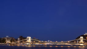 Budapest Chain Bridge 1. Chain Bridge and Elizabeth Bridge across Danube River, with Gellert Hill visible Stock Photos