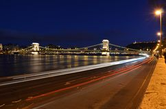 Budapest Chain Bridge by night Royalty Free Stock Photos