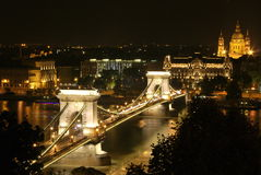 Budapest Chain Bridge at night. Nightimet photo chain bridge and basilica by night as viewed from Pest side Stock Photography