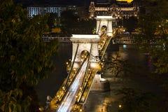 Budapest Chain Bridge night scene Royalty Free Stock Photo
