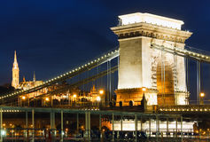 Budapest Chain Bridge night view Stock Photography