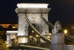 Budapest Chain Bridge night view Stock Photography