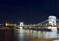 Budapest Chain Bridge night view Royalty Free Stock Image