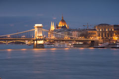 Budapest. Chain Bridge and the Parlament in Budapest, capital city of Hungary Stock Image