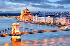 Budapest with chain bridge and parliament, Hungary Stock Images