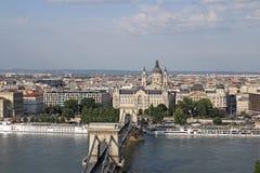 Budapest Chain bridge and Saint Stephen's Basilica Royalty Free Stock Image