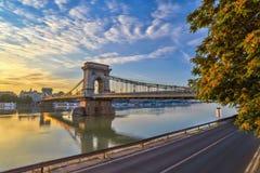 Budapest Chain Bridge Royalty Free Stock Photos