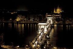 Budapest chainbridge Royaltyfria Bilder