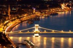 budapest chainbridgesikt Fotografering för Bildbyråer