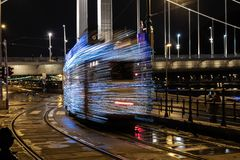 Christmas lights tram leaving in Budapest royalty free stock photography