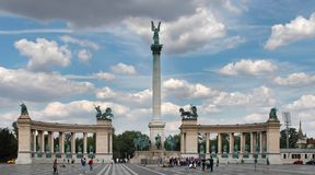 BUDAPEST - CIRCA JULY 2014 : Tourists visit Millennium Monument Royalty Free Stock Photo