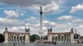 BUDAPEST - CIRCA JULY 2014 : Tourists visit Millennium Monument Royalty Free Stock Photo
