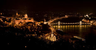 Budapest from the Citadelle. Night panorama of Budapest from the Citadelle. Hungary royalty free stock image