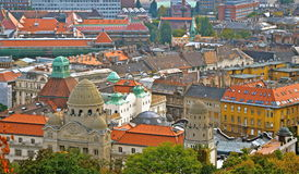 Budapest city centre buildings. Historic old colourful hungary dome topped looking down Royalty Free Stock Photos