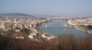 Budapest city centre. View of Budapest city centre with Buda Castle, Chain Bridge, Parliament building and Danube river Royalty Free Stock Images
