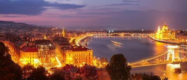 Budapest city night scene. View at Chain bridge, river Danube an. D famous building of Parliament. Budapest, Hungary, Europe stock photography