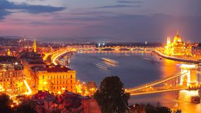 Budapest city night scene. View at Chain bridge, river Danube an. D famous building of Parliament. Budapest, Hungary, Europe stock images