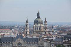 Budapest city scape with close up view of St. Stephen`s Basilica stock photo