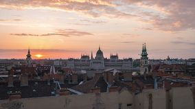 Budapest city skyline night to day time lapse in Budapest, Hungary stock video footage