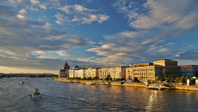 Budapest city skyline panorama on the Danube. Budapest skyline panorama with Hungarian Parliament building and Danube river at sunset, Hungary Royalty Free Stock Photography