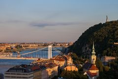 Budapest City at Sunset. In Hungary, view in direction of Elizabeth Bridge and Gellert Hill Royalty Free Stock Images