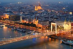 Budapest city view from top location at night. Pest side of Budapest city including st. Elisabeth bridge and Stephen`s basilica view from top location at night Royalty Free Stock Photos