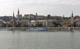Budapest cityscape with the Buda Castle, St. Matthias and Fishermen Bastion Royalty Free Stock Photo
