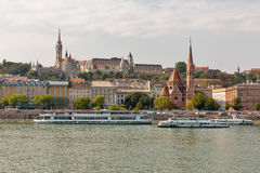 Budapest cityscape with the Buda Castle, St. Matthias and Fishermen Bastion Royalty Free Stock Photography