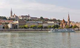 Budapest cityscape with the Buda Castle, St. Matthias and Fishermen Bastion Stock Photos
