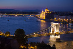 Budapest cityscape with Chain Bridge and Parliament Building Stock Image