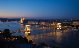Budapest cityscape with Chain Bridge and Parliament Building Royalty Free Stock Image