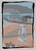 Budapest cityscape hand drawing postcard Stock Image
