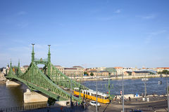 Budapest Cityscape and Liberty Bridge Stock Photo