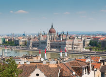 Budapest cityscape with National Hungarian Parliament on the background Stock Photography