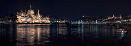 Budapest cityscape at night Stock Images