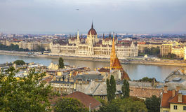Budapest cityscape with Parliament building at sunset. HDR. Budapest cityscape with Parliament building at sunset. Capital of Hungary. HDR Stock Images