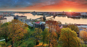 Budapest cityscape at sunrise, panorama of Hungary Stock Photography