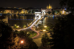 Budapest cityscape. The Széchenyi Chain Bridge (Hungarian: Széchenyi lánchíd) is a suspension bridge that spans the River Danube between Buda and Pest, the Stock Image