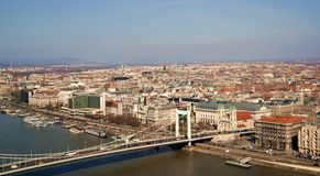 Budapest cityscape. Cityscape of Budapest with view of Elisabeth Bridge and St Stephens basilica Royalty Free Stock Images