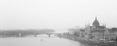 Budapest cityscape. View of the Budapest on a foggy day. Black and white image Stock Photos