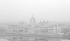 Budapest cityscape. View of the Parliament Building in Budapest on a foggy day Stock Image