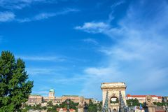 Budapest Cityscape View. Budapest cityscape with Szechenyi Chain Bridge and National Gallery stock photography