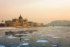 Budapest cityscape in winter Royalty Free Stock Images